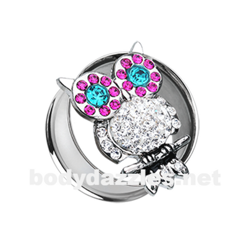 Pair of Night Owl Multi-Sprinkle Dot Ear Gauge Tunnel Plug - BodyDazzle