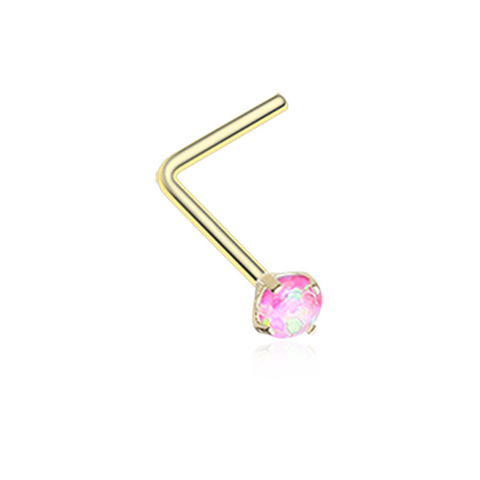 Gold Pink Opal Sparkle Prong Set L-Shaped Nose Ring 20ga Body Jewelry - BodyDazzle
