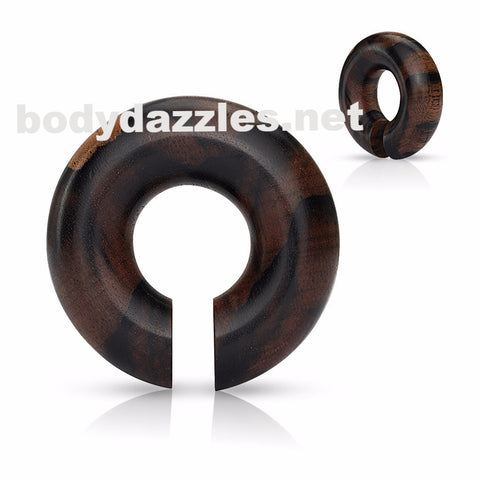 Single Organic Areng Wood Round Ear Spiral Taper/ Septum Hangers - BodyDazzle