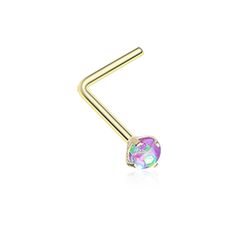 Gold Purple Opal Sparkle Prong Set L-Shaped Nose Ring 20ga Body Jewelry - BodyDazzle