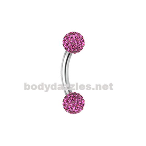 Purple Sprinkle Dot Curved Barbell Eyebrow Ring Rook Daith Ring 16ga Body Jewelry