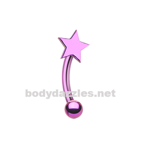 Pink Colorline Star Curved Barbell Eyebrow Ring Rook Daith Ring 16ga Body Jewelry