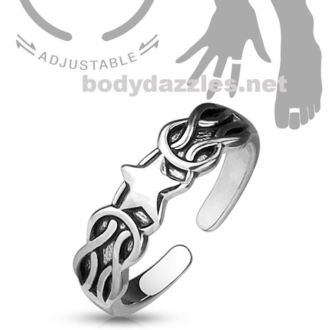 Star Pattern Silver Adjustable Double Braided Toe Ring