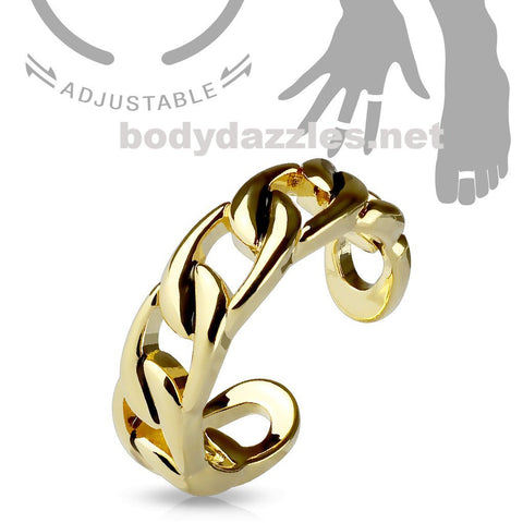 Golden Linked Chain Silver Adjustable Double Braided Toe Ring