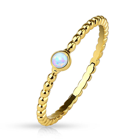 Opal Set 14 Karat Gold Plated  Braided Ring - BodyDazzle