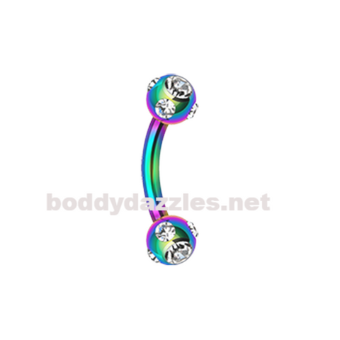 Rainbow Colorline Aurora Gem Ball Curved Barbell Eyebrow Ring Rook Daith Ring 16ga Body Jewelry