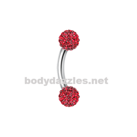 Red Sprinkle Dot Curved Barbell Eyebrow Ring Rook Daith Ring 16ga Body Jewelry