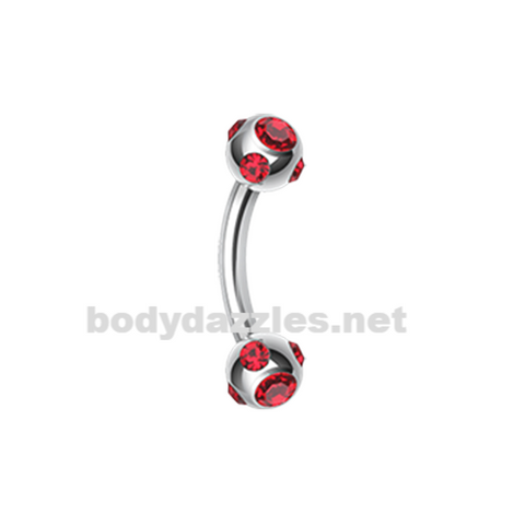 Red Gem Ball Curved Barbell Eyebrow Ring Rook Daith Ring 16ga Body Jewelry