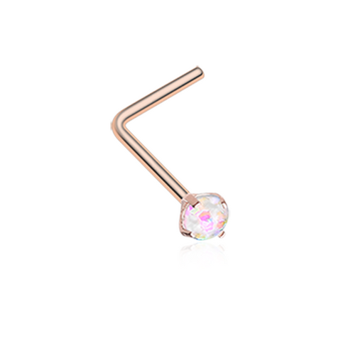 Rose Gold White Opal Sparkle Prong Set L-Shaped Nose Ring 20ga Body Jewelry - BodyDazzle