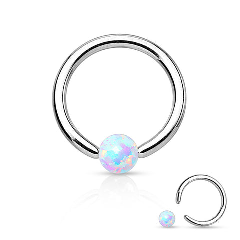 Fire Opal Blue Captive Hoop Daith 16ga Surgical Stainless Steel Ear Jewelry Tragus Cartilage Helix Body Jewelry - BodyDazzle - 2