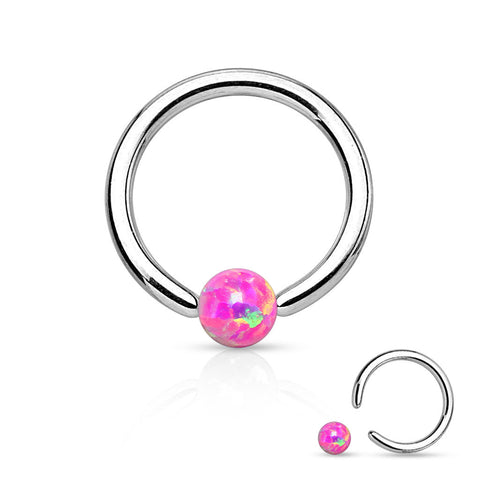 Pink Fire Opal Captive Hoop Daith 16ga 316L Surgical Stainless Steel Ear Jewelry Tragus Cartilage Helix Body Jewelry - BodyDazzle - 1