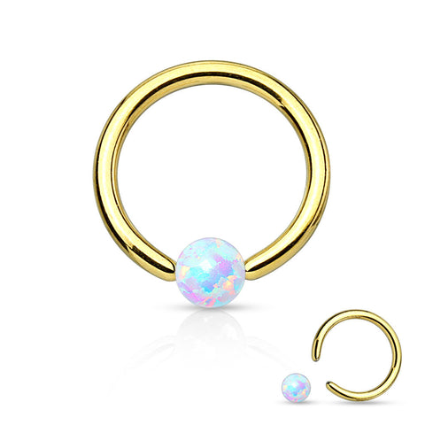 Gold Fire Opal White Captive Hoop Cartilage 16ga Tragus Body Jewelry Helix Piercing Jewelry - BodyDazzle