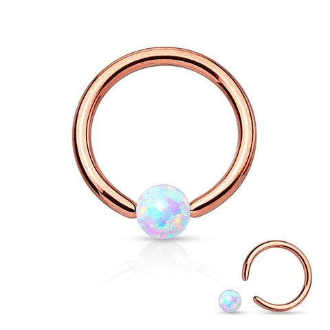 Fire Opal White Captive Hoop Rose Gold Cartilage Daith 16ga Tragus Body Jewelry Helix Piercing Jewelry 316L Surgical Steel - BodyDazzle