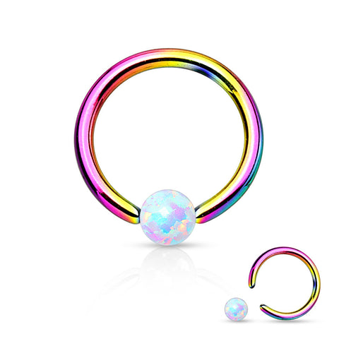 Fire Opal White Captive Hoop Rainbow Cartilage Daith 16ga Tragus Body Jewelry Helix Piercing Jewelry - BodyDazzle