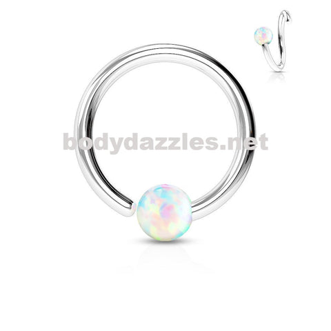Opal White Captive Hoop Daith 16ga Surgical Stainless Steel Ear Jewelry Tragus Cartilage Helix Body Jewelry