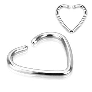 Heart Fake Cartilage Non-Piercing Cartilage 'Clip-On' Single Closure Ring 16ga 316L Surgical Steel - BodyDazzle