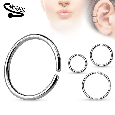 Annealed and Rounded Ends Cut Ring Surgical Steel Body Jewelry Piercing Jewelry 18ga - BodyDazzle