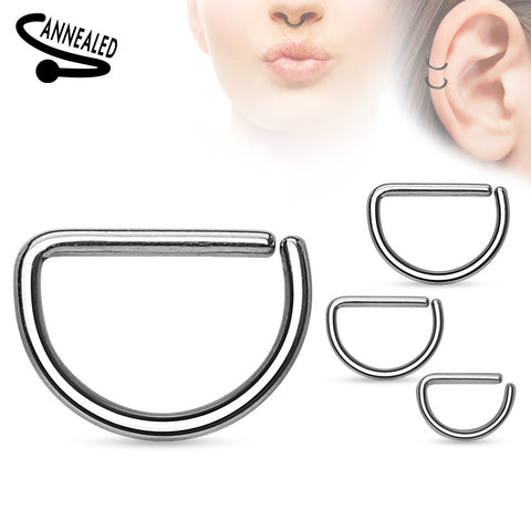Annealed D Shape 316L Surgical Steel Cut Rings Septum Piercing 16ga Cartilage Earring Helix Daith Body Jewelry - BodyDazzles