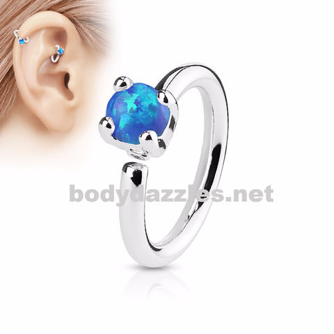 Prong Set Blue Opal  Bendable Hoop Ring Tragus Cartilage Helix 16ga 316L Surgical Steel