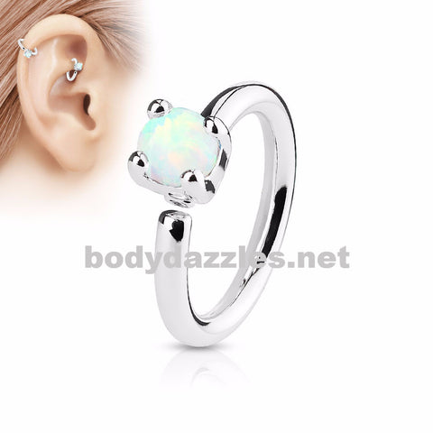 Prong Set White Opal  Bendable Hoop Ring Tragus Cartilage Helix 16ga 316L Surgical Steel