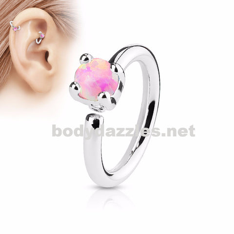 Prong Set Pink Opal  Bendable Hoop Ring Tragus Cartilage Helix 16ga 316L Surgical Steel