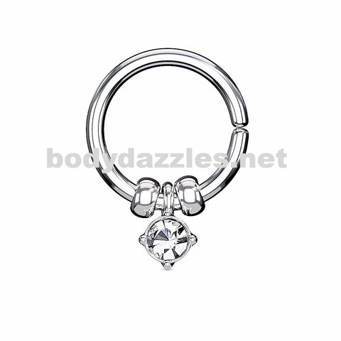 Annealed Bendable Cut Ring with Removable Prong Set Crystal and Steel Beads 18ga 16ga - BodyDazzles
