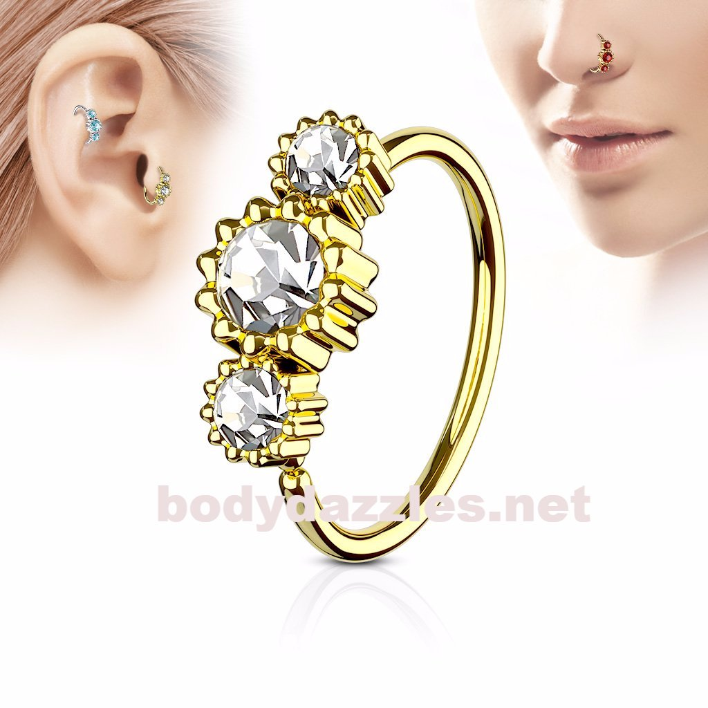 763bf5c24 Clear Round Clear CZ Set Gold IP Plated 316L Surgical Steel Hoop Ring –  BodyDazzles