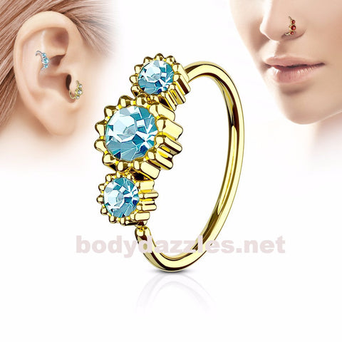 Round Clear CZ Set Gold IP Plated 316L Surgical Steel Hoop Ring for Nose & Ear Cartilage 20ga