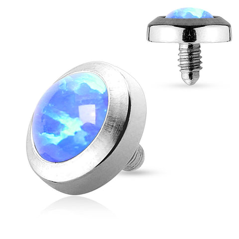Blue Opal Dermal Top Flat Stainless Steel 4mm 14ga - BodyDazzle - 1