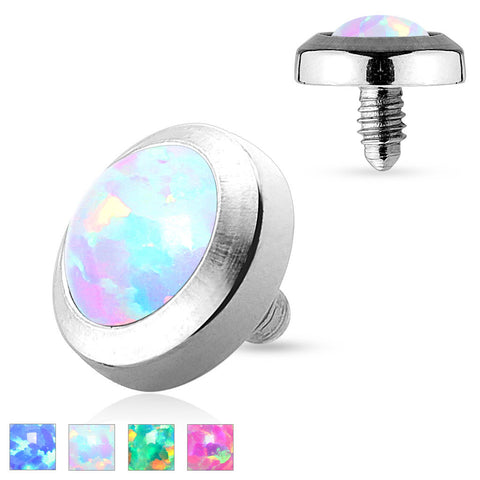 White Opal Dermal Top Flat Stainless Steel 4mm 14ga - BodyDazzle - 1