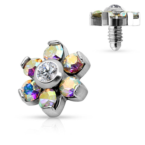 Aurora Borealis Flower Dermal Top 14 ga Body Jewelry Surface Piercing - BodyDazzles