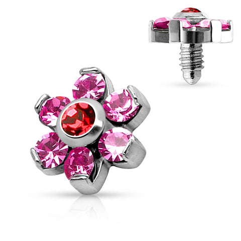 Pink Prong Set Crystal Flower 316L Surgical Steel Internally Threaded Dermal Anchor Top - BodyDazzle