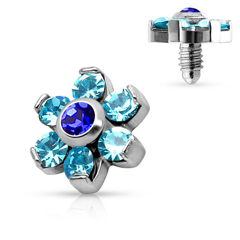 Aqua Prong Set Crystal Flower 316L Surgical Steel Internally Threaded Dermal Anchor Top - BodyDazzle