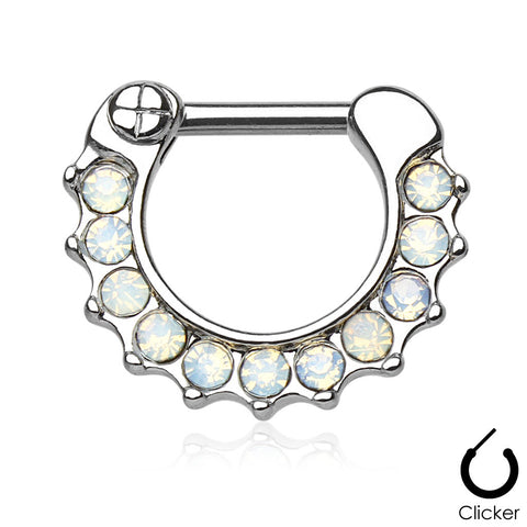 Opalites White Surgical Steel Septum Clicker Ring Daith Nose Jewelry - BodyDazzle