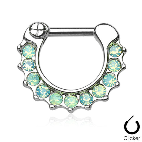 Opalites Green Surgical Steel Septum Clicker Ring Daith Nose Jewelry - BodyDazzle