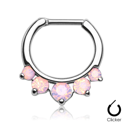 Septum Clicker Opalites Pink Nose Jewelry Surgical Stainless Steel Body Jewelry Daith - BodyDazzle