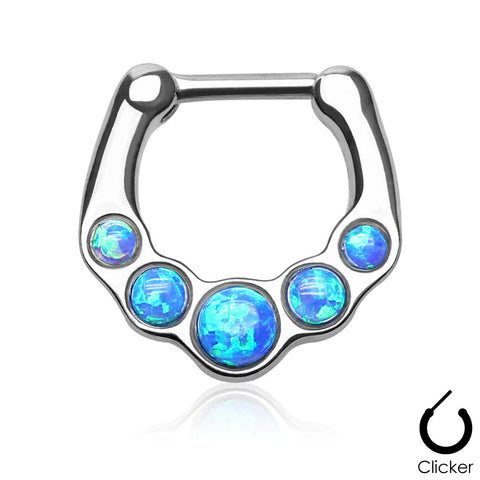 Blue Fire Opal Septum Clicker Sugrgical Steel Nose Jewelry 16ga Body Jewelry - BodyDazzle - 1