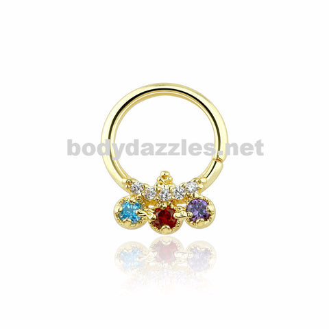 Gold Trilink Design Multi Colored CZ Septum Ring 16ga