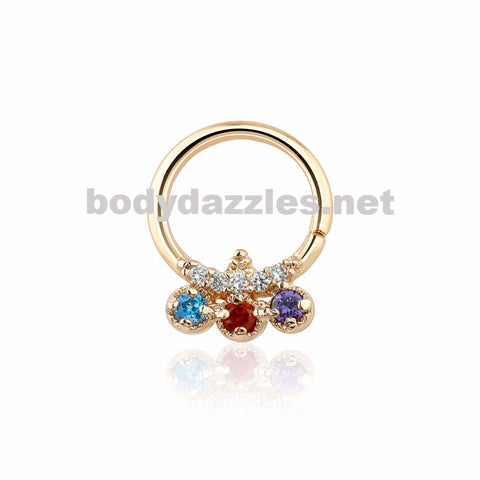 Rose Gold Trilink Design Multi Colored CZ Septum Ring 16ga
