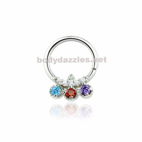 Silver Trilink Design Multi Colored CZ Septum Ring 16ga
