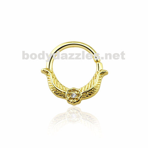Gold CZ Laurel Leaf Crown Design Septum Hoop Ring Nose Ring 16ga