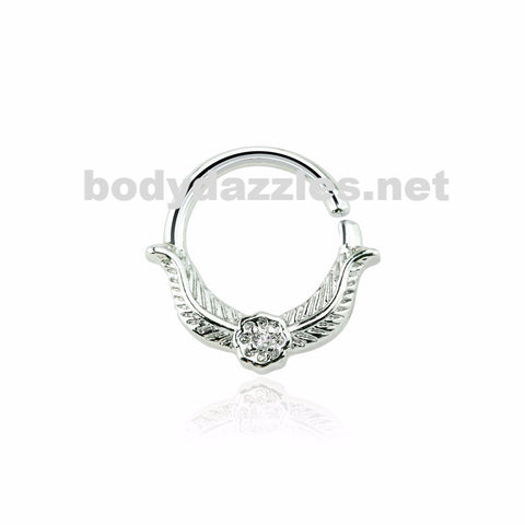 CZ Laurel Leaf Crown Design Septum Hoop Ring Nose Ring 16ga