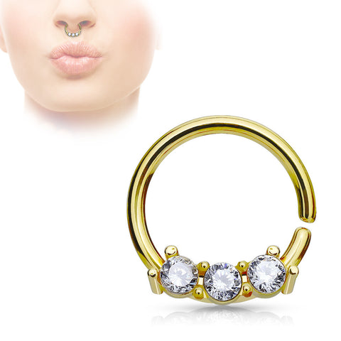 Gold Septum Hoop Rings with Three CZ Set Bar 316L Surgical Steel bendable 18ga Daith Helix - BodyDazzle - 1