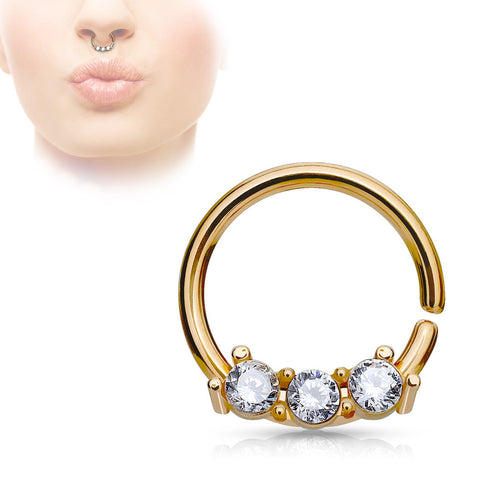 Rose Gold Septum Hoop Rings with Three CZ Set Bar 316L Surgical Steel bendable 18ga Daith Helix - BodyDazzle - 1