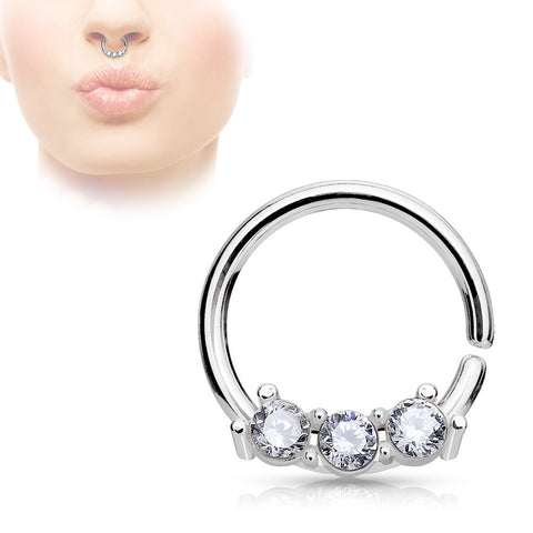 Silver Septum Hoop Rings with Three CZ Set Bar 316L Surgical Steel bendable 18ga Daith Helix - BodyDazzle - 1