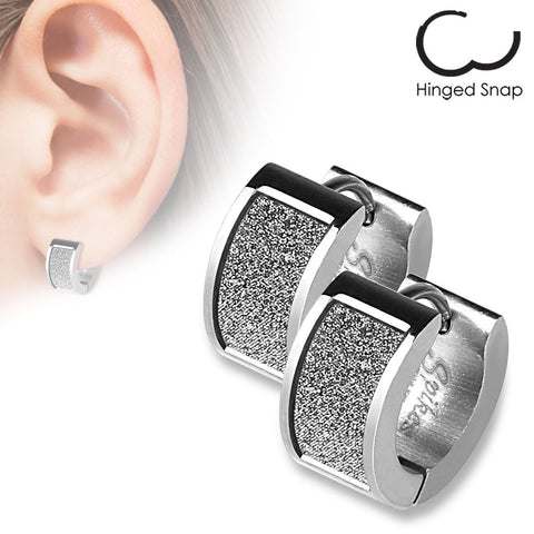 Silver Sand Shimmer Earrings Surgical Stainless Steel Pair Ear Piercing - BodyDazzle - 1
