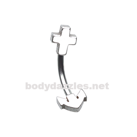Anchor Curved Barbell Eyebrow Ring Rook Daith Ring 16ga Body Jewelry - BodyDazzles