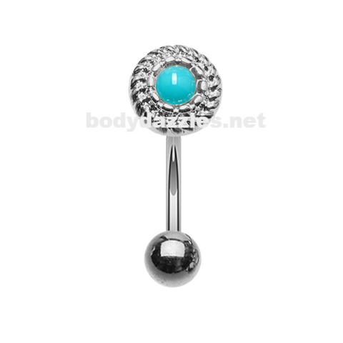 Round Rope Turquoise Curved Barbell Eyebrow Ring Rook Daith Ring 16ga Body Jewelry - BodyDazzle