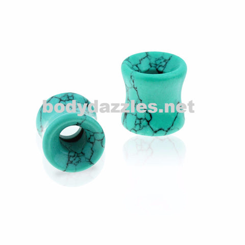 Teal Hollow Tunnel Semi Precious Howlite Stone Saddle Plug