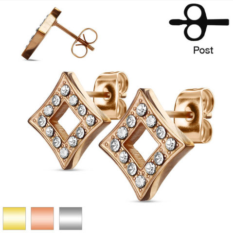 Copy of Pair of Diamond CZ Paved Star Stainless Steel Stud Earrings 20ga - BodyDazzle